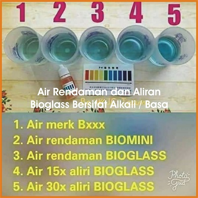air bioglass alkali, air bioglass basa, cara pakai bioglass, air rendaman bioglass, air sulingan bioglass, air bioglass,